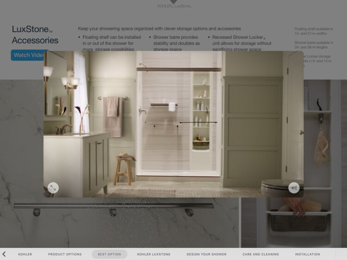 Ingage client presentation sales materials showing video, text and picture combination