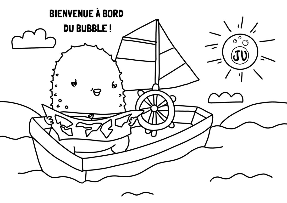 Coloriage bateau pour enfant. Barque avec voile.