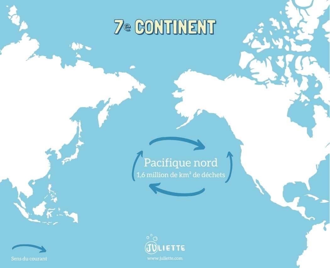 Emplacement geographique du 7ème continent de plastique entre le Japan et la Californie