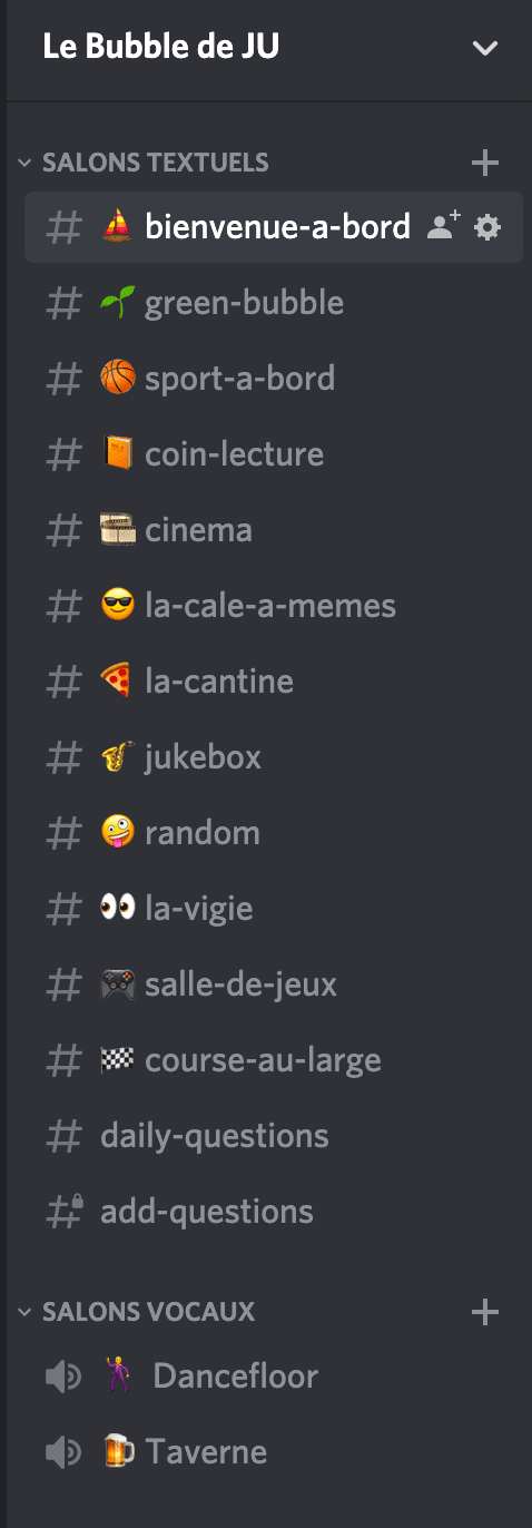 Channels Discord Bubble de JU
