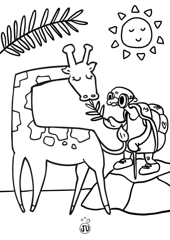 Coloriage savane Juliette avec girafe