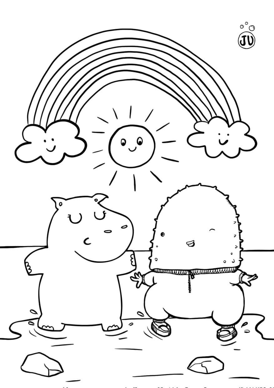 Coloriage savane avec hippopotame Juliette
