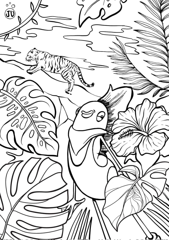 Coloriage jungle avec tigre, JU part a l'aventure