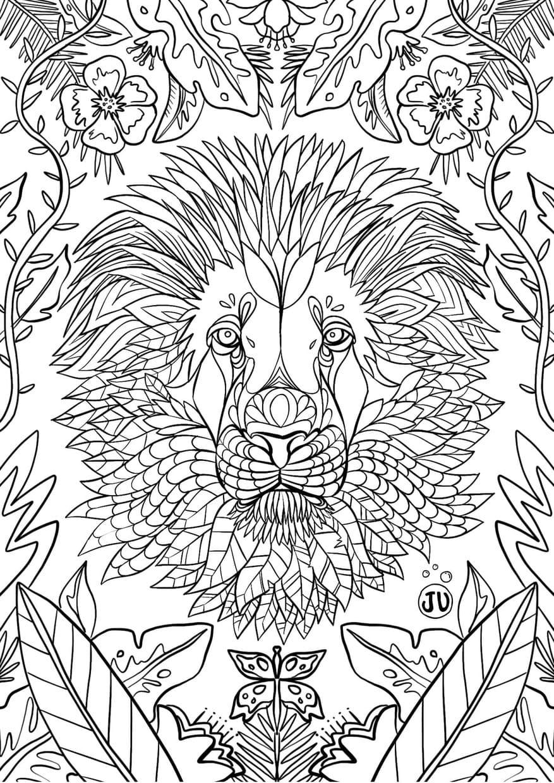 Coloriage mandala lion avec jungle luxuriante