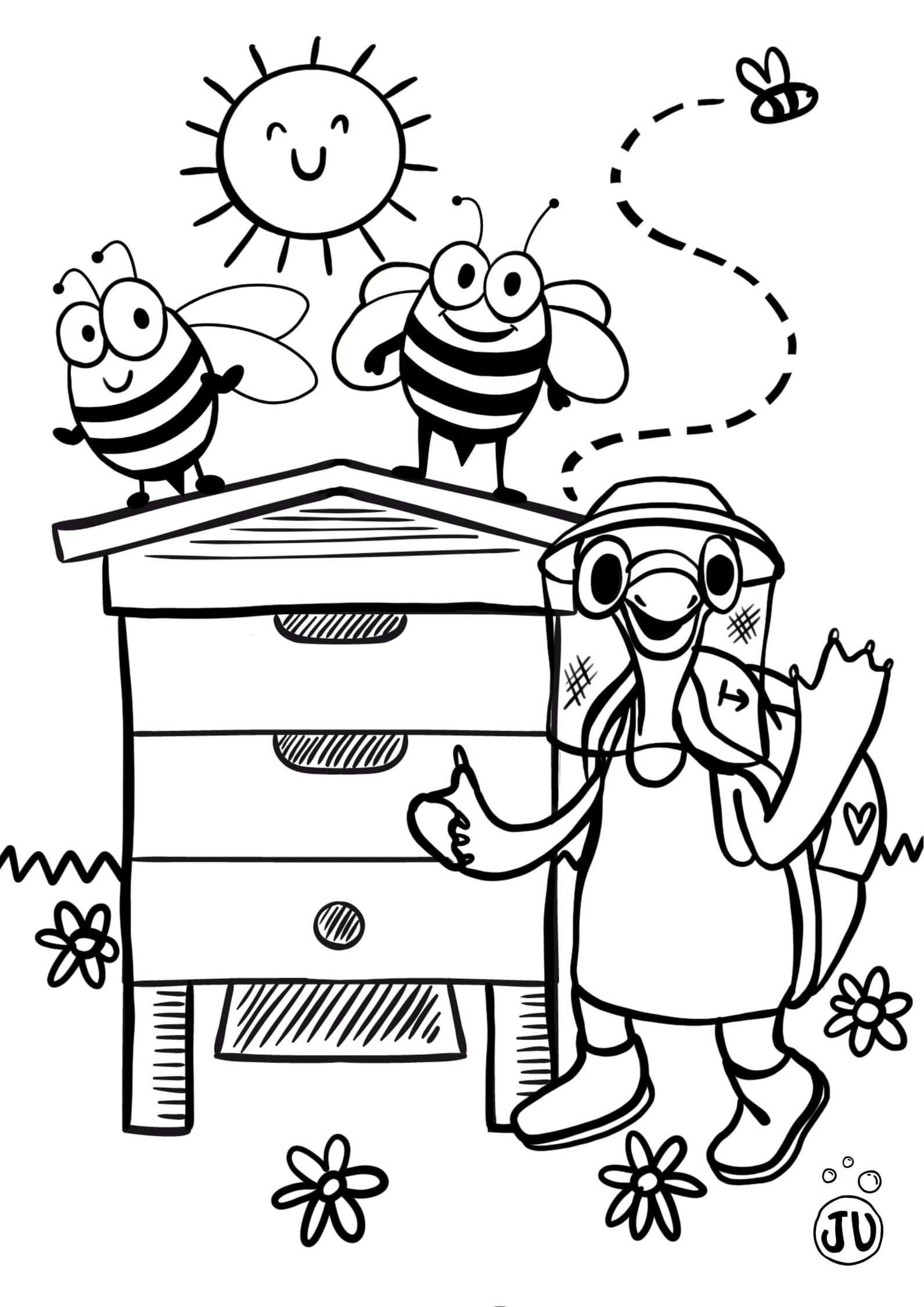 Coloriage abeille apiculture avec Theodore