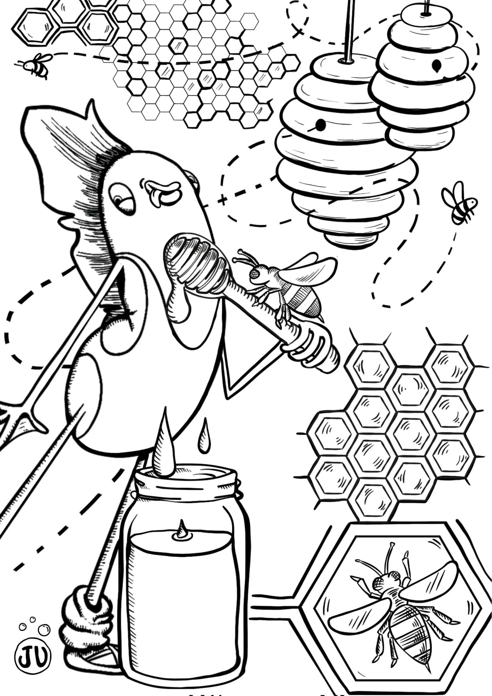 Coloriage abeille ruche, alveoles et miel