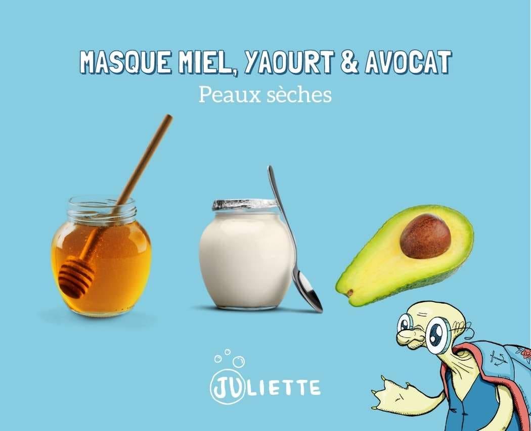 Recettede masque au miel yaourt et avocat pour peaux seches