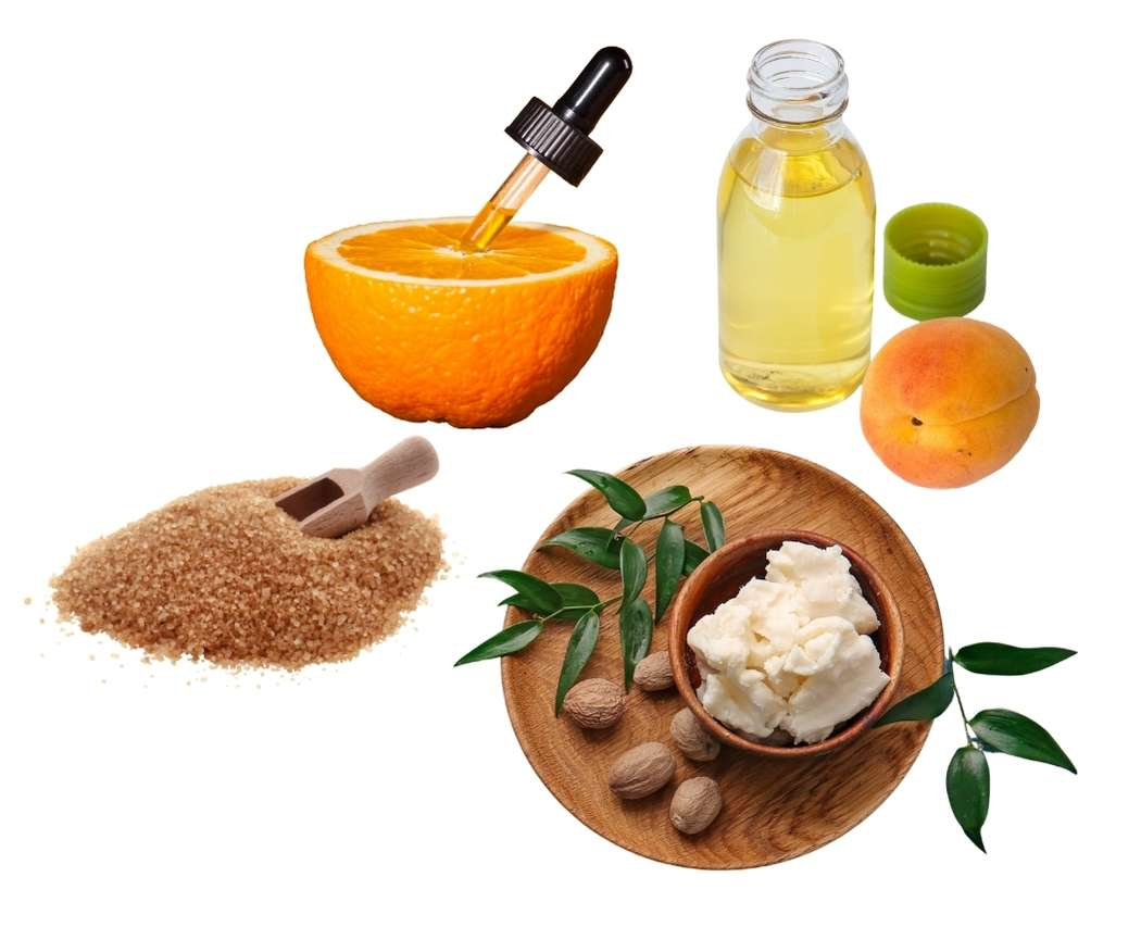 Ingredients gommage maison abricot orange douce