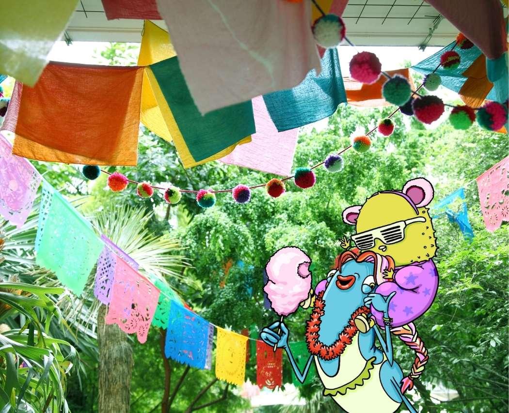 Decoration fanions lanternes garden party