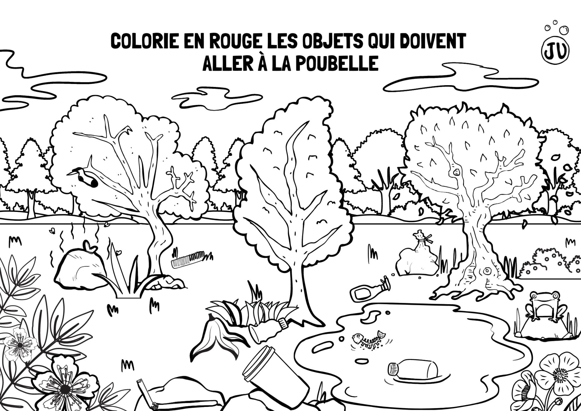 Coloriage ecologie ramasser les dechets dans la nature