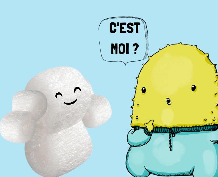 Particule de calage biodegradable et Elliot la mascotte