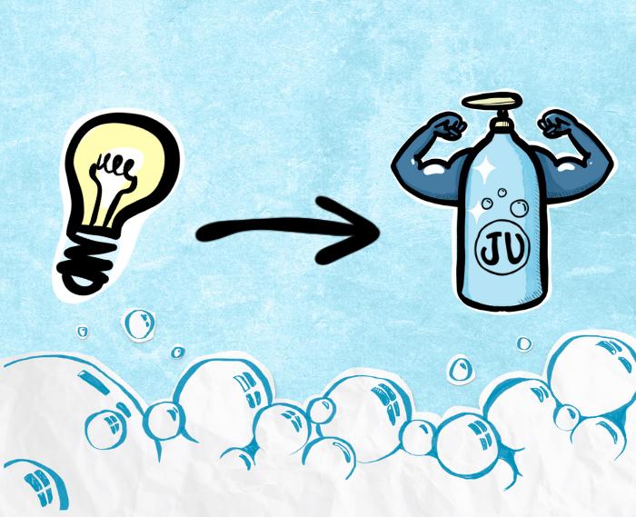 Une ampoule (idée) devient une bouteille de Ju