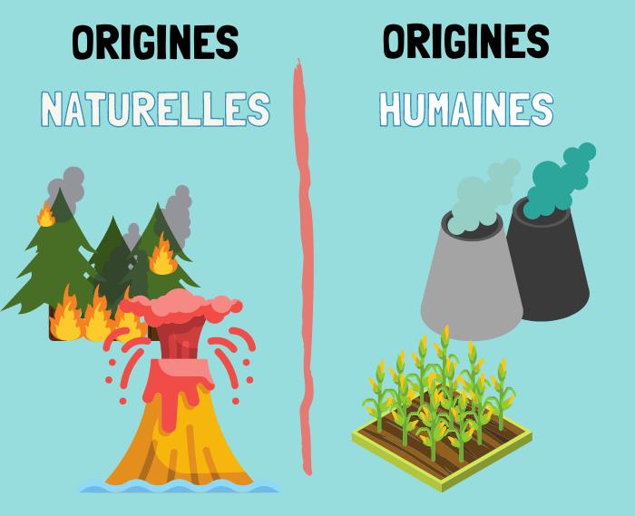 Origines de la pollution de l'air : comparaison entre naturelles (volcan, feu de forêt) et humaine (activité et agriculture)