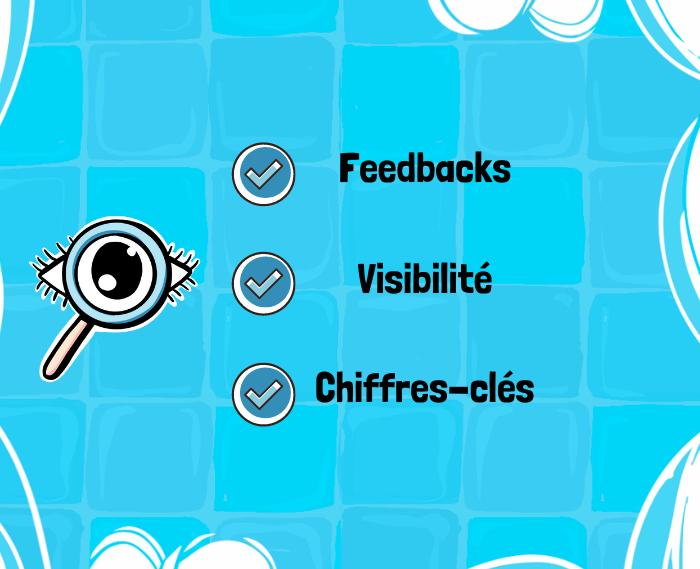 Icone transparence et checklist mentionnant : feedback, Visibilité, chiffres-clés