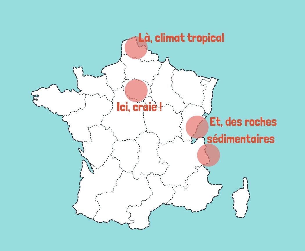 Carte de France des zones avec beaucoup de calcaire et raisons pourquoi