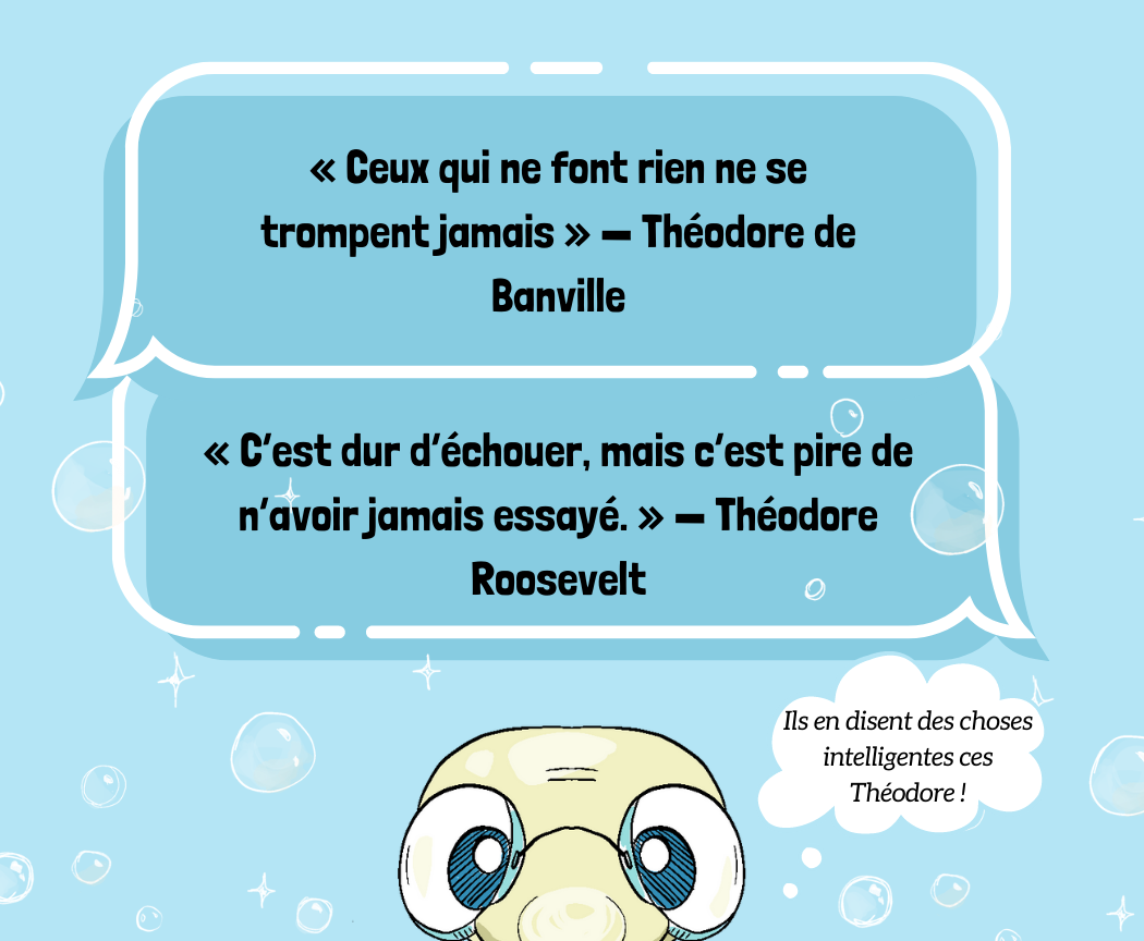 2 citations de Théodore de Banville et Théodre Roosevelt sur les échecs et la mascotte Théodore qui s'identifie