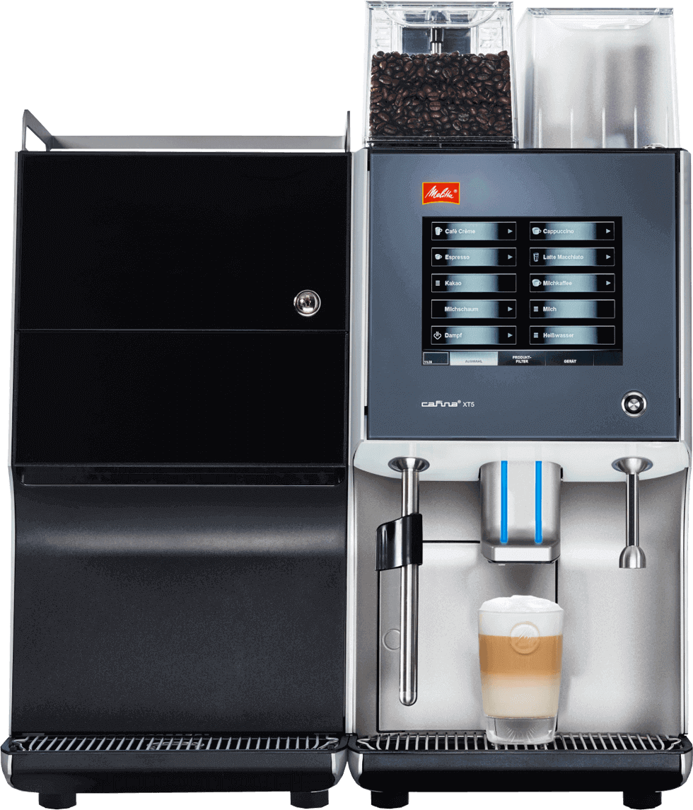 Melitta Cafina XT5 Commercial Automatic Office Coffee Machine with types of Milk