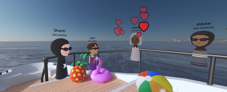 Estraad avatarer på en virtuell yacht