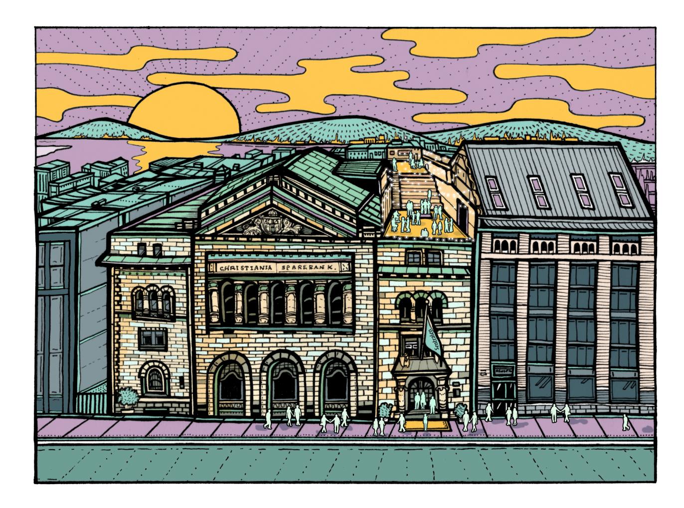 Grafisk illustrasjon av takterrassen på Sentralen