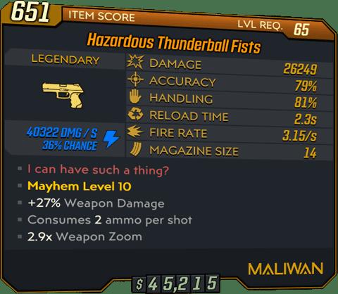 Thunderball Fists (Pistol-BL3)
