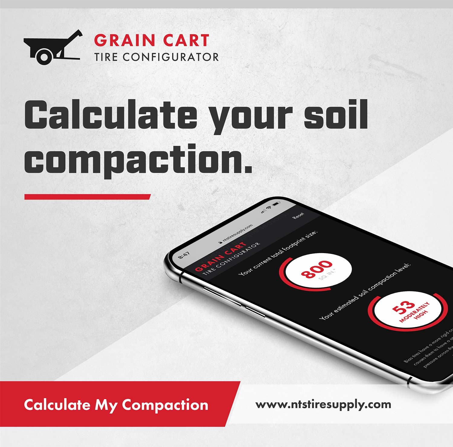 Calculate your soil compaction with NTS Tire Supply's Grain Cart Configurator