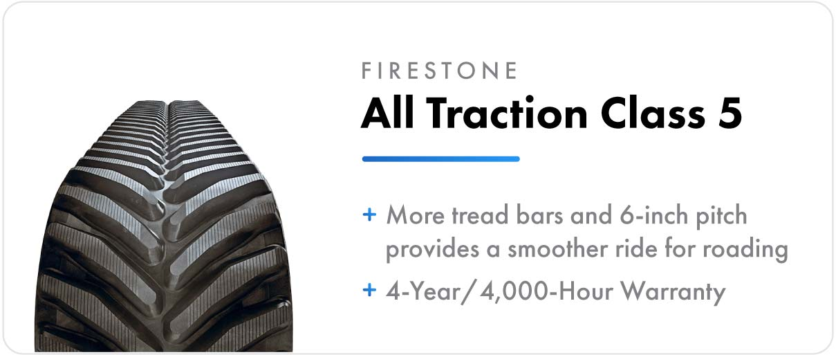 Firestone All Traction Class 5 track for John Deere 9RT and 9000T series tractors.
