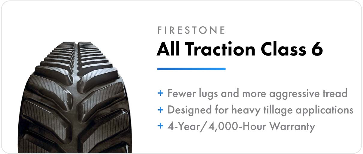 Firestone All Traction Class 6 track for John Deere 9RT and 9000T series tractors.