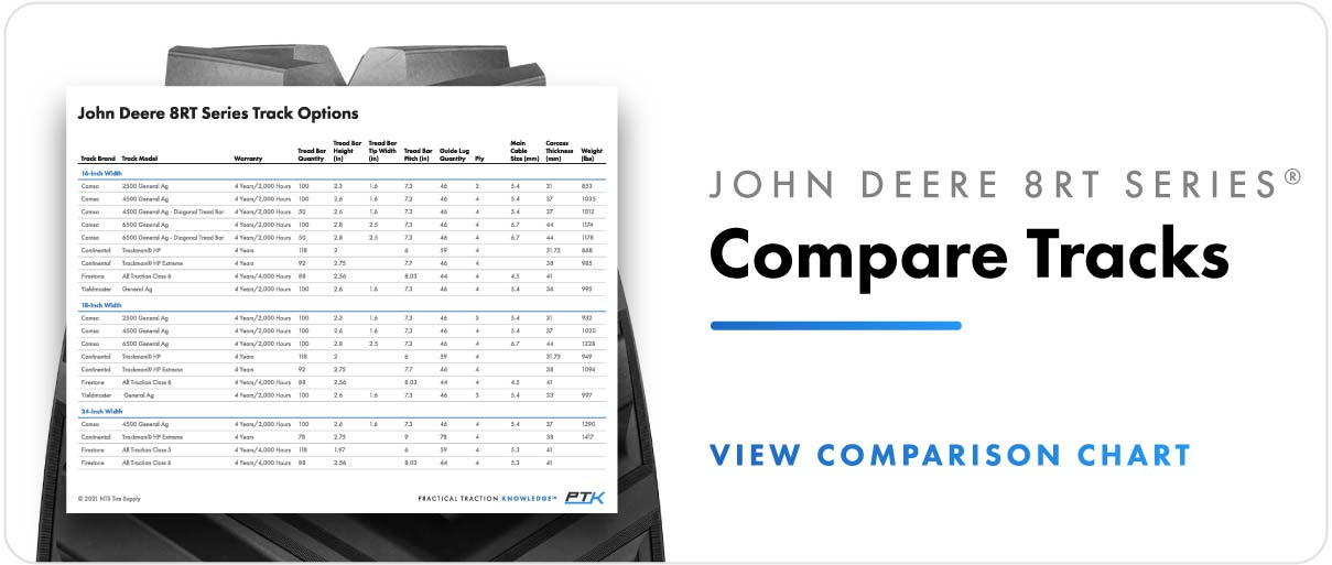 Compare track options for John Deere 8RT series tractors.