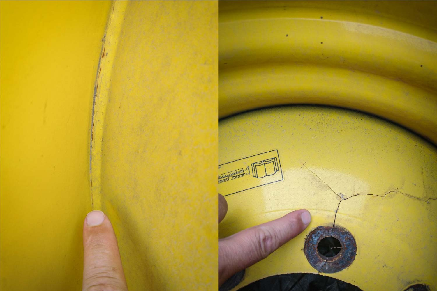 Cracked wheels can stop harvest in your tracks. Carefully examine wheels for cracks near bolt holes and welds.