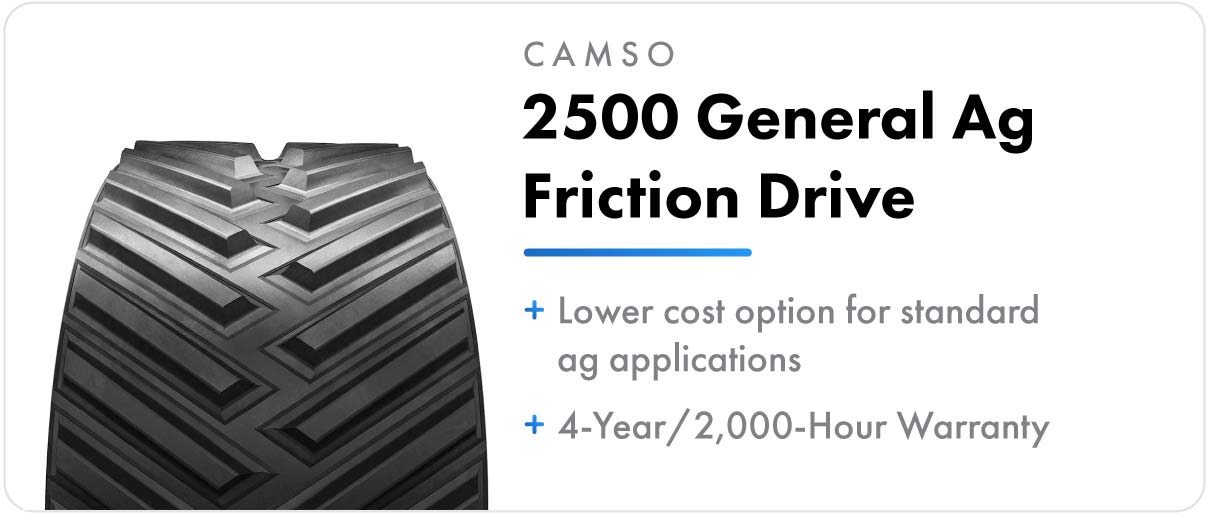 Camso 2500 General Ag Friction Drive track for John Deere 9RT and 9000T series tractors.