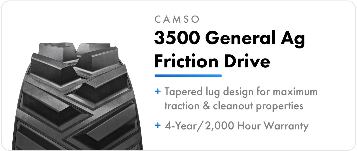 Camso 3500 General Ag Friction Drive track for John Deere 9RT and 9000T series tractors.