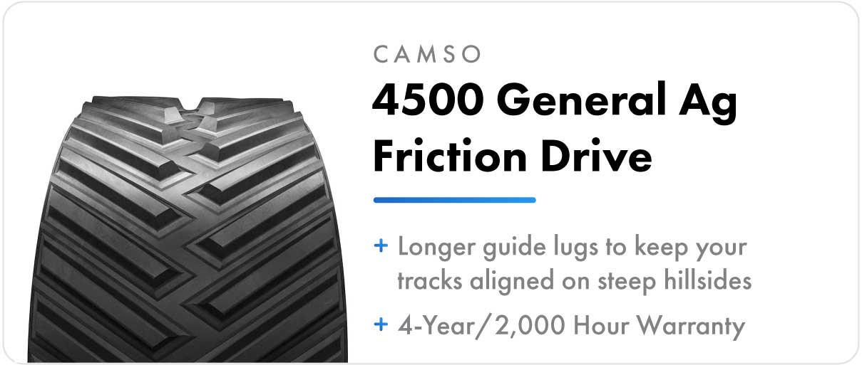 Camso 4500 General Ag Friction Drive track for John Deere 9RT and 9030T series tractors.