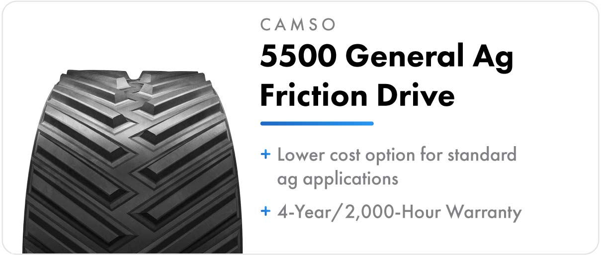 Camso 5500 General Ag Friction Drive track for John Deere 9000T series tractors.