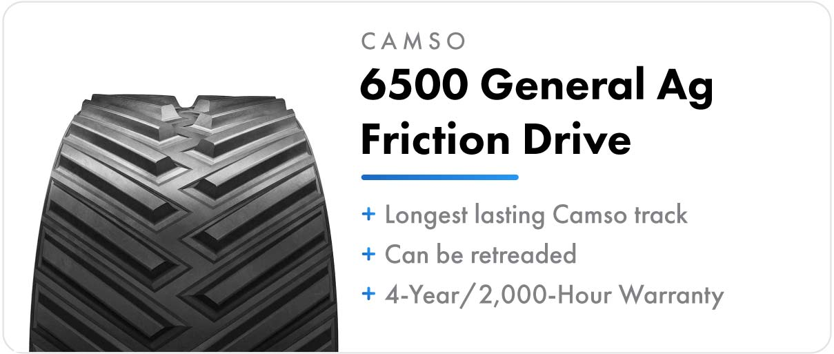 Camso 6500 General Ag Friction Drive track for John Deere 9RT and 9030T series tractors.