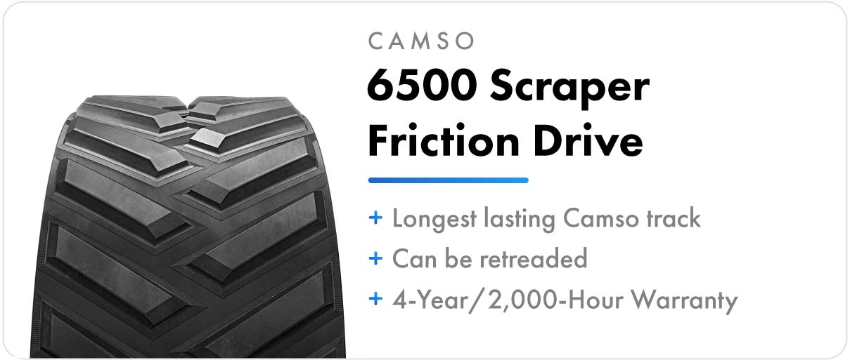 Camso 6500 Scraper Friction Drive track for John Deere 9RT and 9030T series tractors.