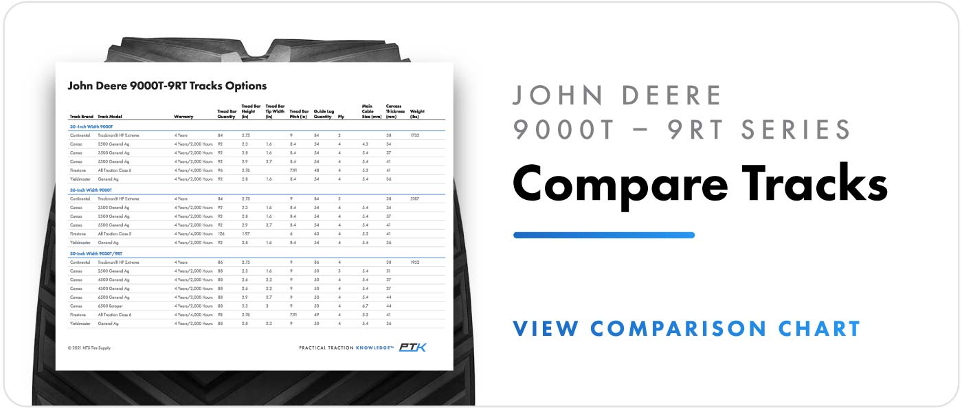 Compare track options for John Deere 9000T – 9RT series tractors.