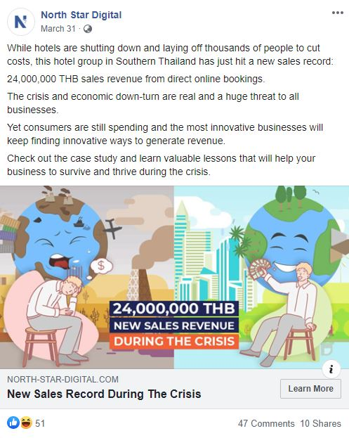 Screenshot of shared content about hotel marketing agency