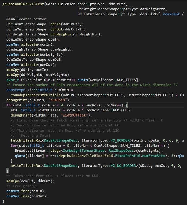 A screenshot of a kernel written using the quadric SDK C++ API.