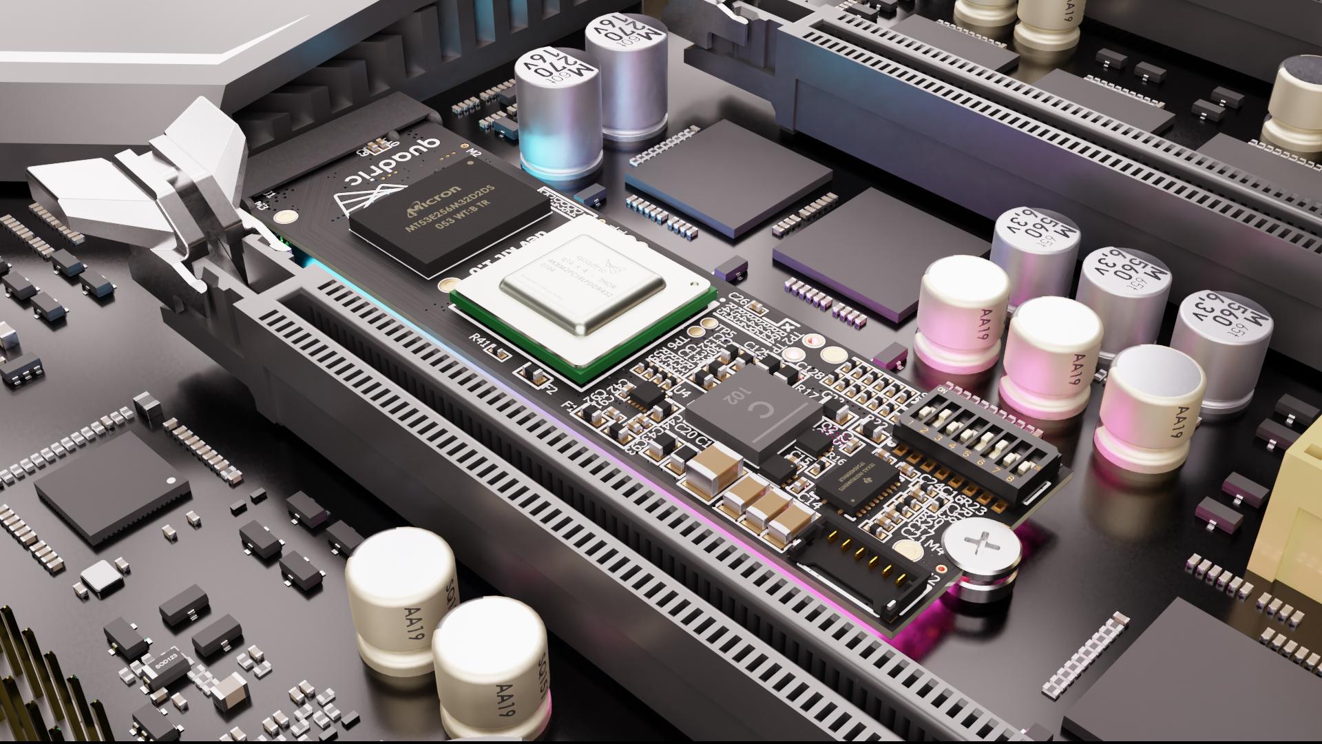 The quadric Dev Kit inside of an ATX form factor host system.