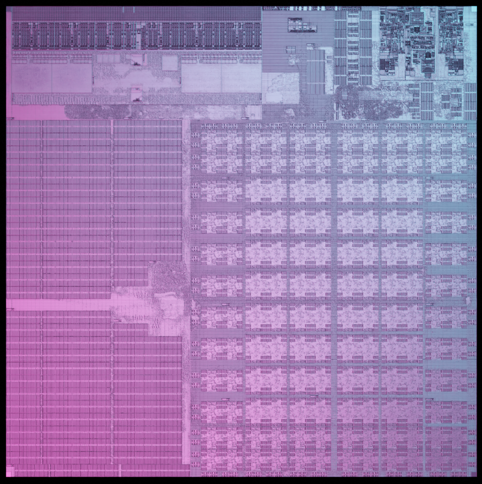 Die photograph of the first quadric Processor: the q16.
