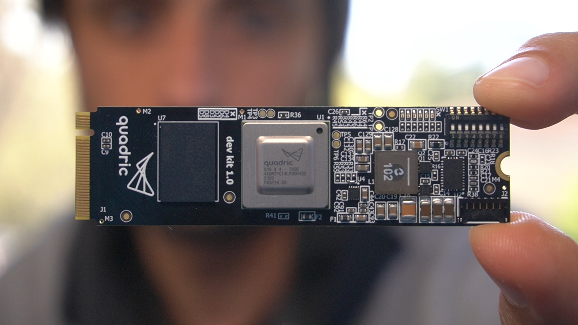 Close up photograph of the quadric Dev Kit v1.0. The easiest way to experience the q16 Processor.