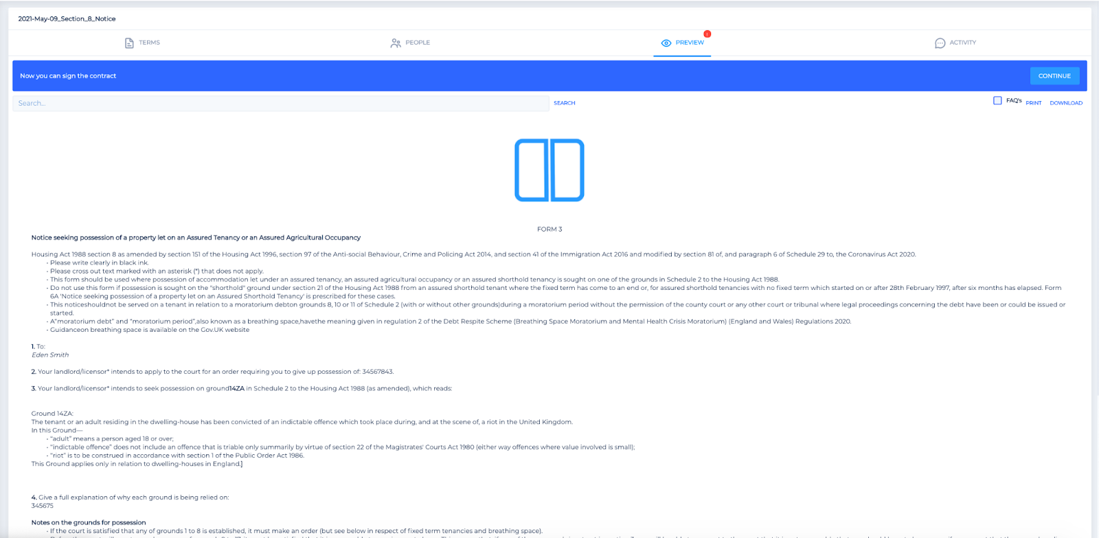 Screenshot of the Legislate contract