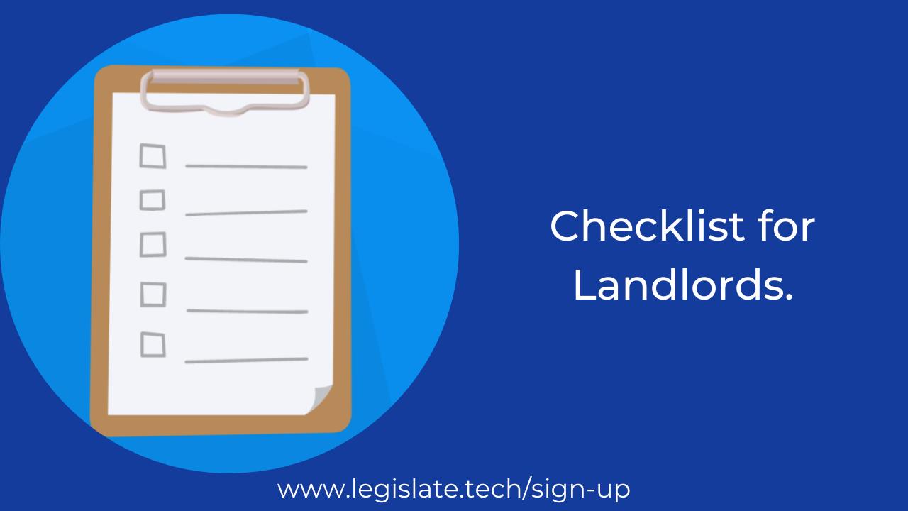 Legislate's checklist for Landlords