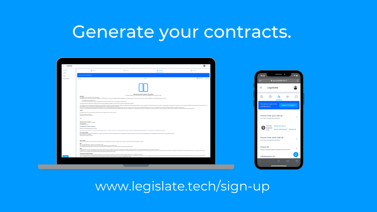 Generate your legal contracts in no time at all.