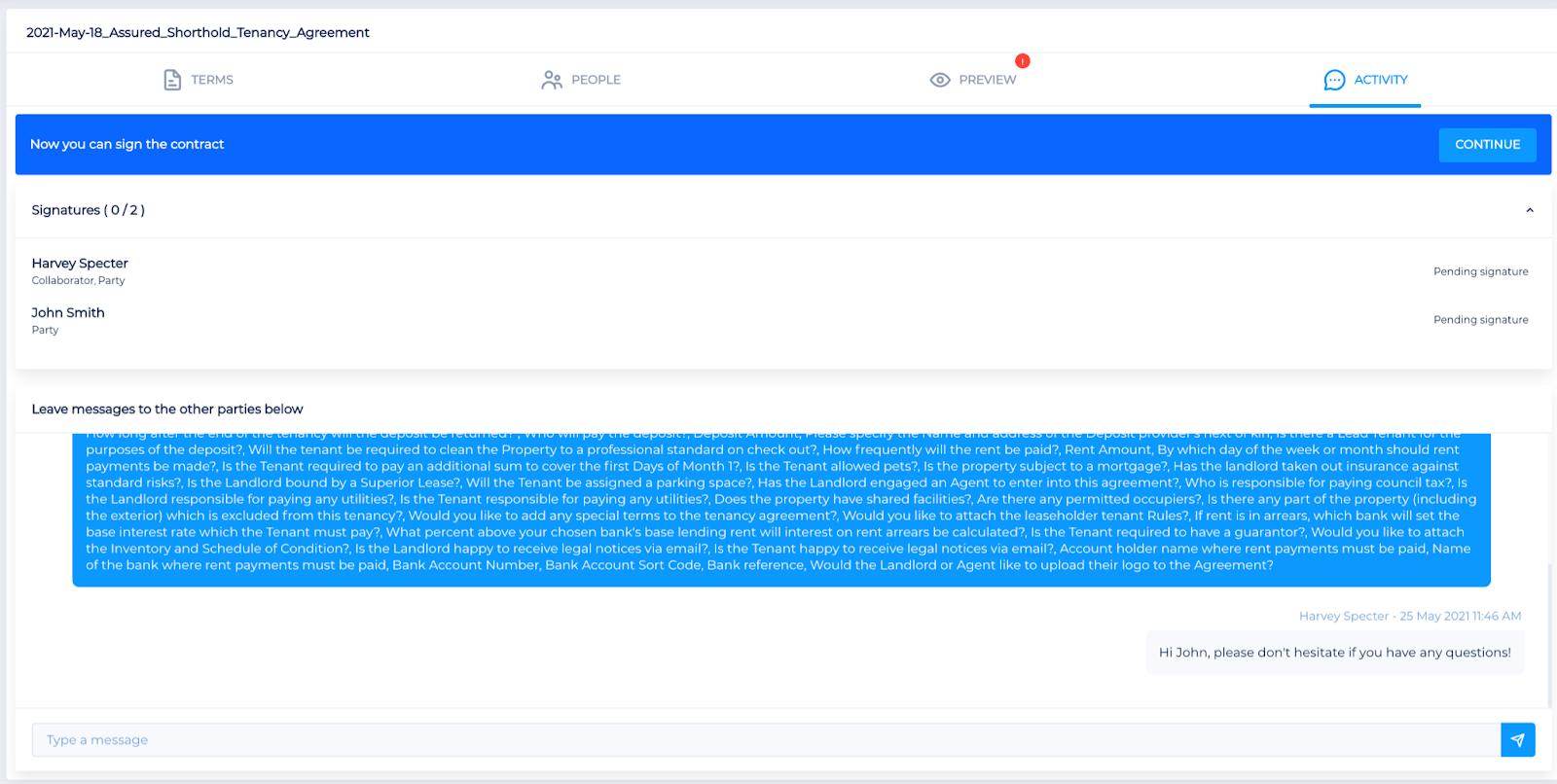 Screenshot of Legislate's activity tab