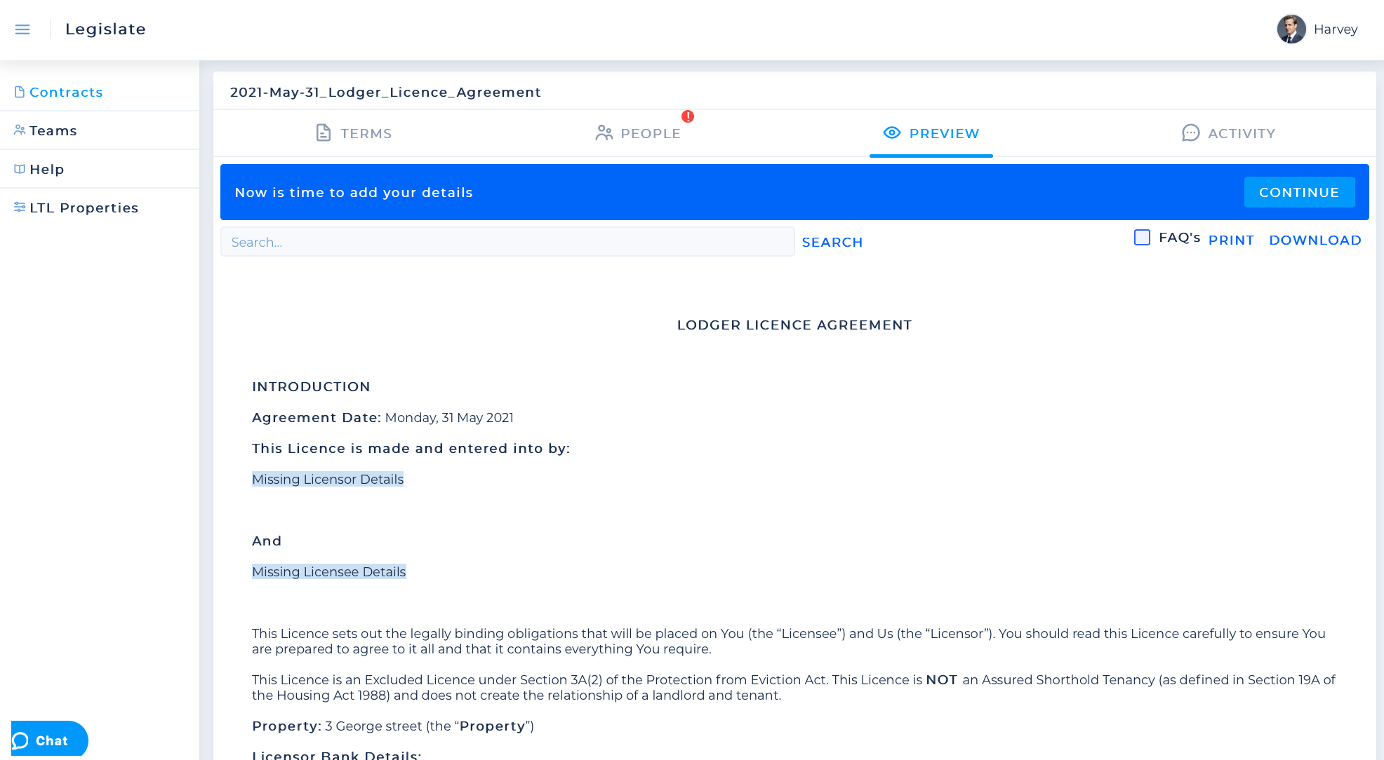 Screenshot of the Lodger Licence Agreement