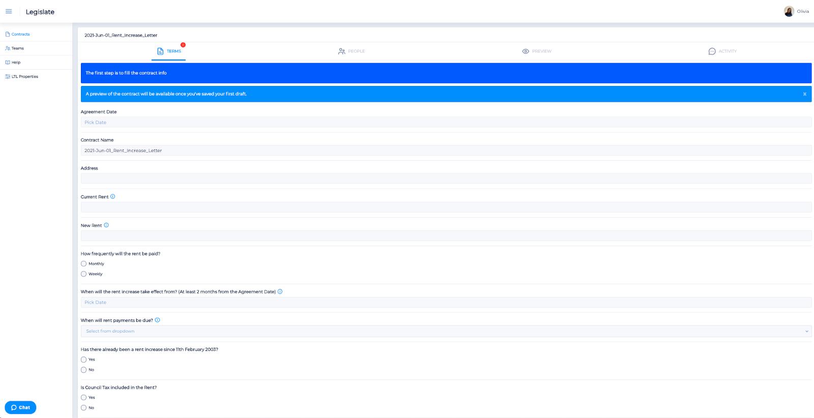 Screenshot of the Legislate terms tab