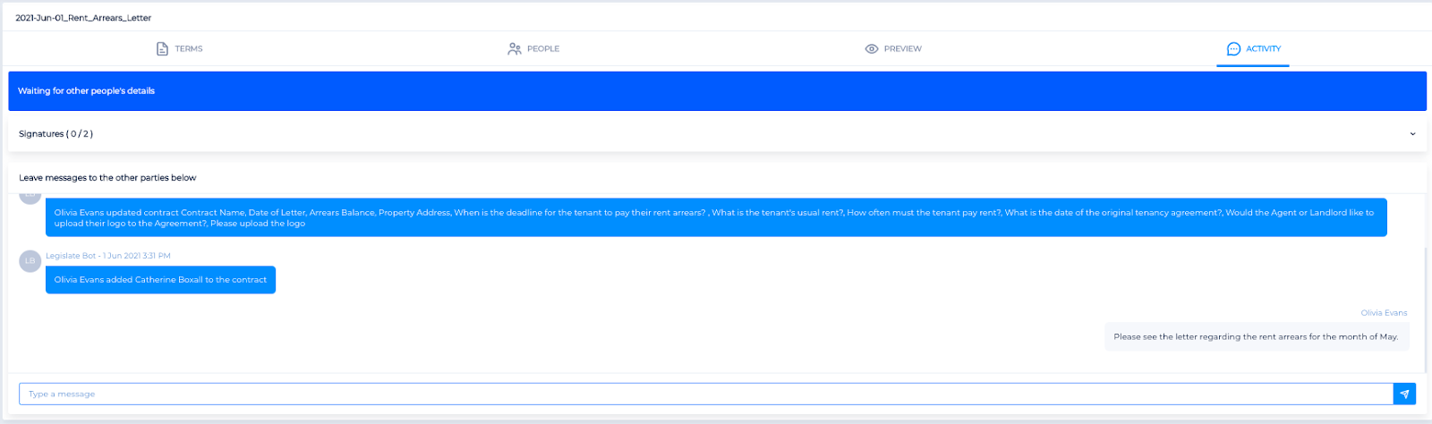 Screenshot of the Legislate activity tab