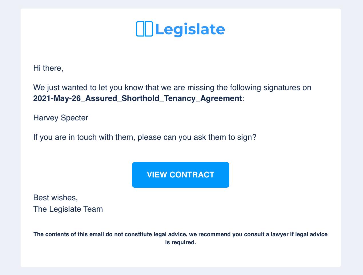 Legislate email reminder