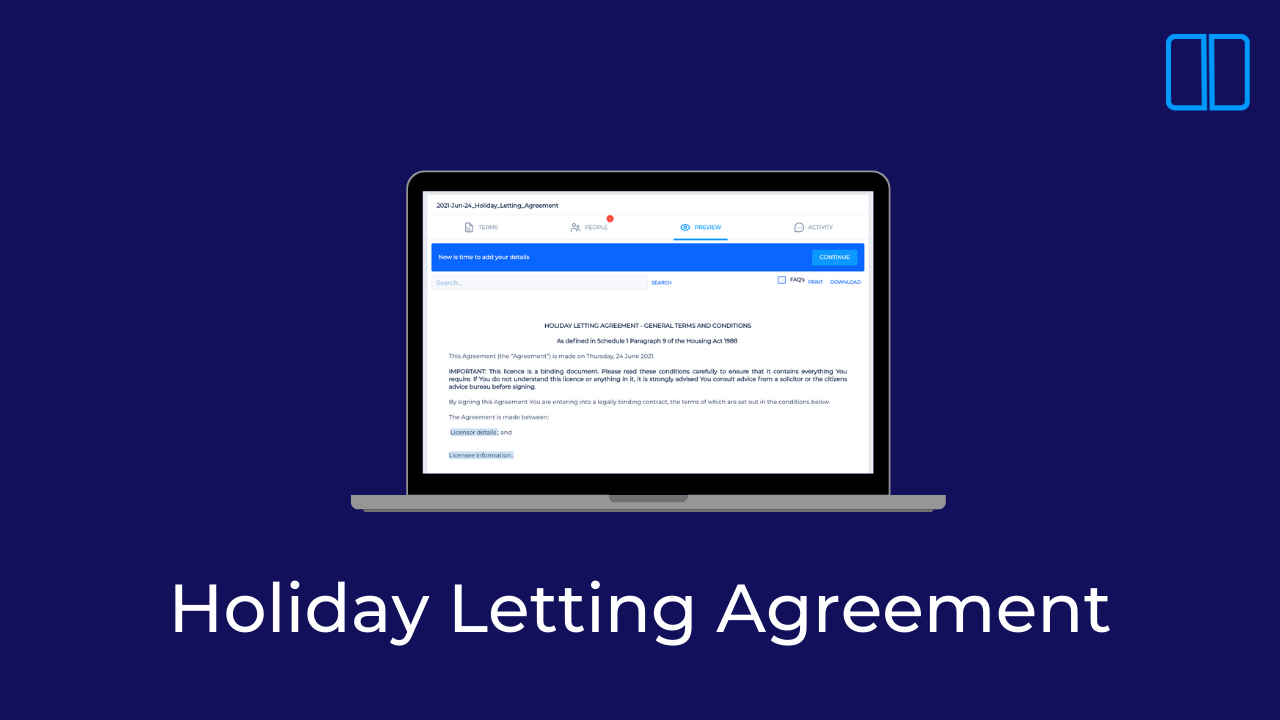 How to create a Holiday Letting Agreement with Legislate